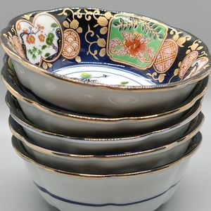 Vintage Dining - BINTAGE ASIAN CHINOISERIE RICE BOWLS SMALL SET 5